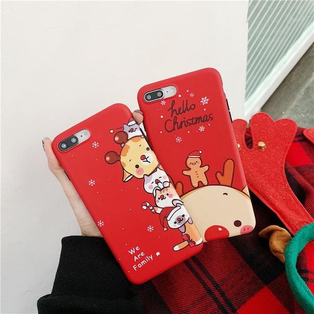 Christmas deer cartoon prezent dla przypadku iphone xr xs max x funda dla iphone 6 6s 8 7 plus silikonowy miękki matowy futerał na telefon czerwony okładka