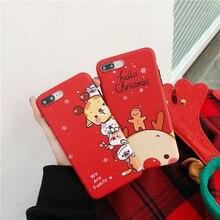 צבי חג המולד קריקטורה מתנה עבור מקרה iphone xr xs מקסימום x funda עבור iphone 6 6s 8 7 בתוספת סיליקון רך מט טלפון מקרה אדום כיסוי
