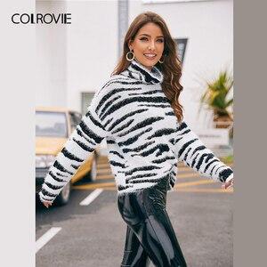 Image 2 - COLROVIE גבוהה צוואר פלאפי לסרוג זברה דפוס סוודר נשים 2019 חורף זוהר סוודרים ארוך שרוול גבוה רחוב סוודרים