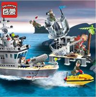 ENLIGHTEN 819 Military Ship Fort Of The Island Figure Blocks Educational Construction Bricks Compatible with Toys For Kids