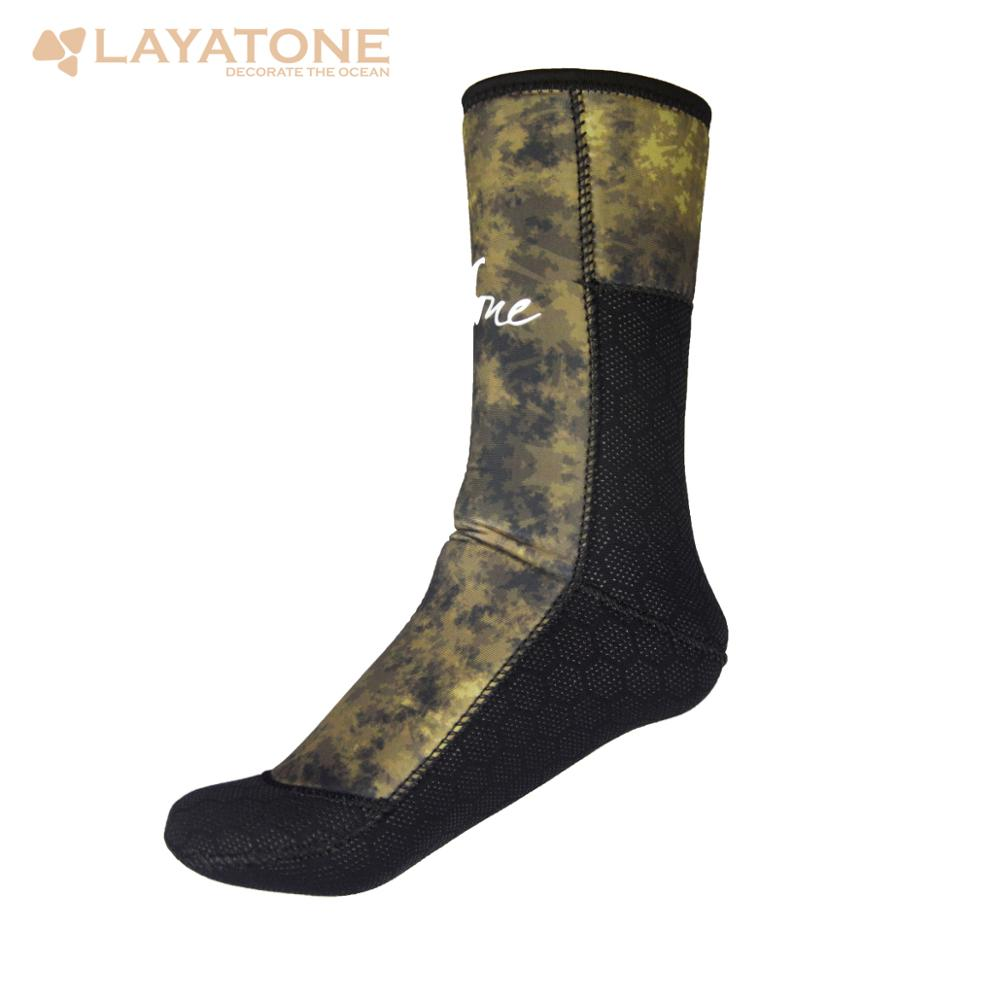 LayaTone Diving Socks Men 5mm Neoprene Wetsuit Socks Surfing Snorkeling Beach Fins Socks Camouflage Spearfishing Booties Shoes
