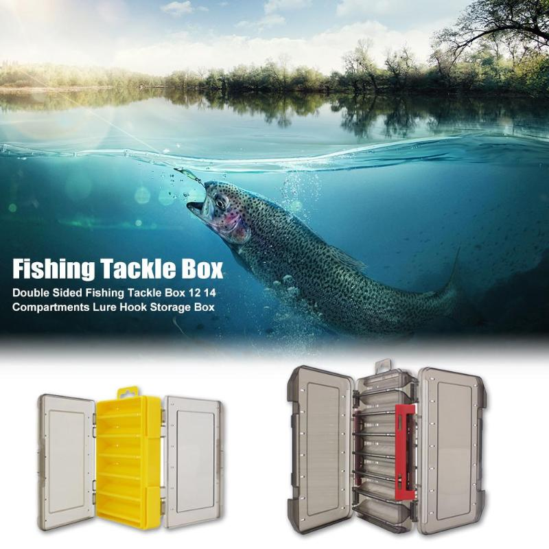 Durable Storage Box Classic Delicate Texture Double Sided Fishing Tackle Box 12 14 Compartments Bait Lure Hook Storage Box
