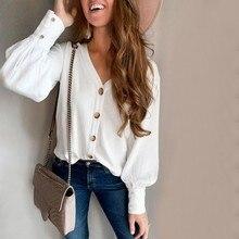 Fashion V-Neck Button Women Shirt Office Lady Casual Autumn
