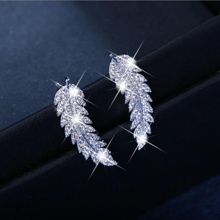 Cxwind SprkingคริสตัลOlive Leafต่างหูCuff Ear Climbersงานแต่งงานเครื่องประดับตุ้มหูต่างหูผู้หญิงเจ้าสาวBrincos