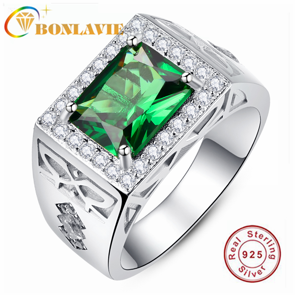 BONLAVIE 925 Sterling Silver Square Green Zirconium Compact Diamond Men's Ring for Wedding and Engagement Gift