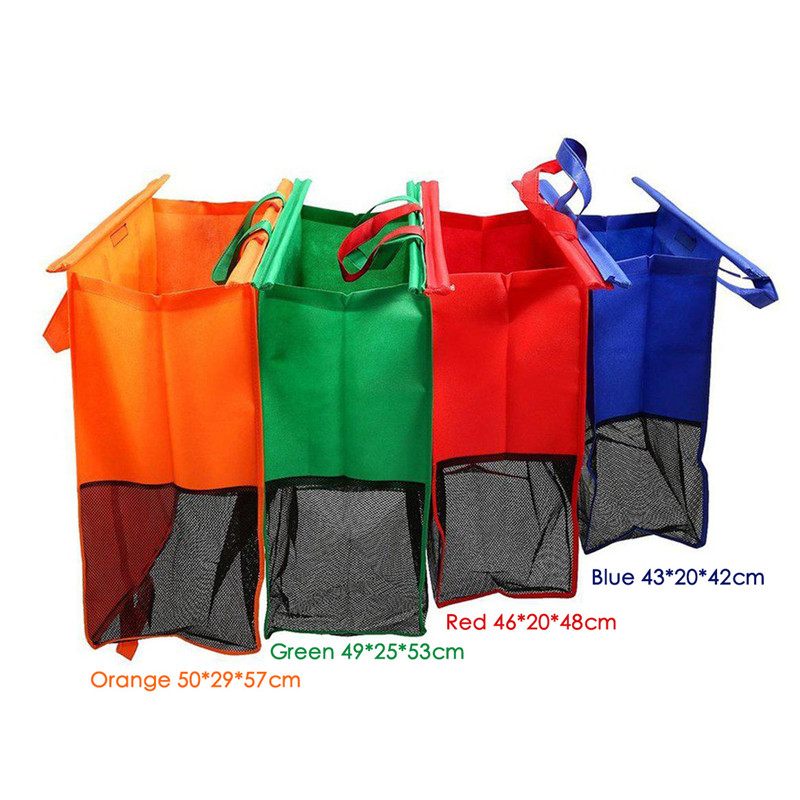 Image 2 - VOGVIGO 4pcs Cart Trolley Supermarket Shopping Bag Grocery Shopping Bags Foldable Tote Eco friendly Reusable Supermarket BagsShopping Bags   -