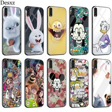 Big White Rabbit Anime Case Glass For Huawei P30 P10 P20 P Smart Mate 20 Pro Lite Y6 Y9 Honor 7A 8X 9 10 Cover(China)