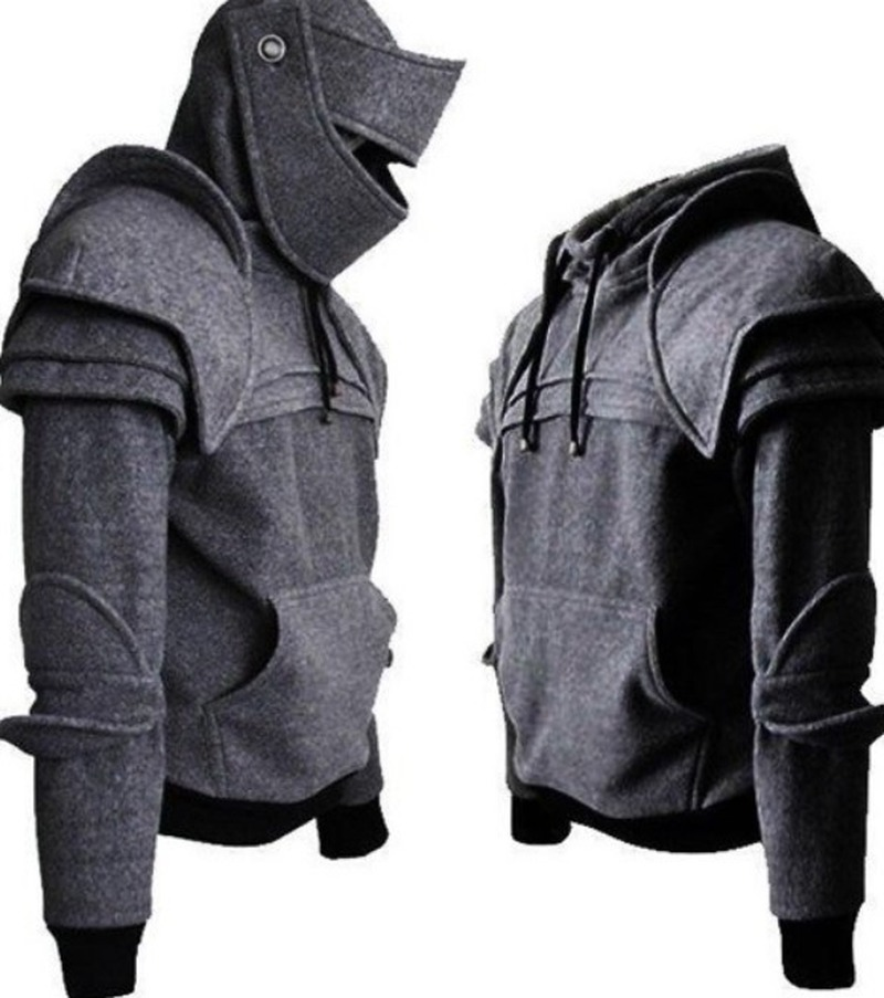 Vintage Medieval Knight Men Hoodies Warrior Soldier Hooded Sweatshirt Mask Armor Pullover Cosplay Costume Plus Size Tops SA-8
