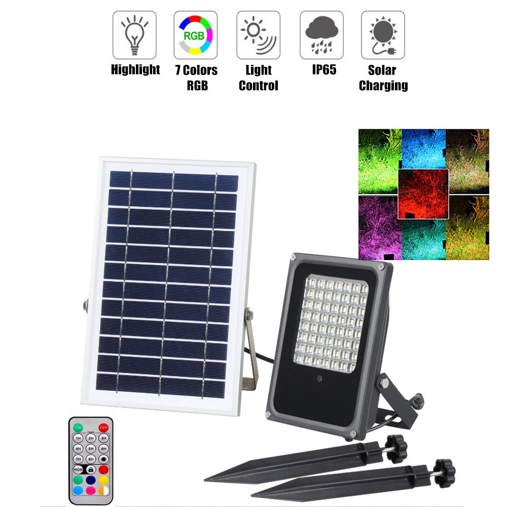 10W/50W LED Solar Spotlight Outdoor RGB Changeable With Remote Control Dimmable Waterproof IP65 For Garden Home Decor Wall Light