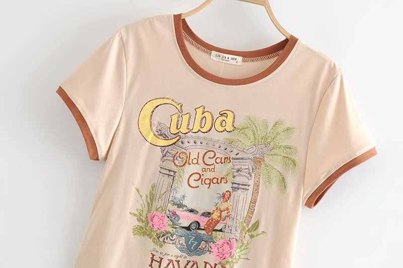 BoHo Musim Panas Vintage Chic Wanita Pohon Lengan Pendek T-shirt Wanita Atasan Katun Hippie Kaos Pasangan Camiseta Feminina