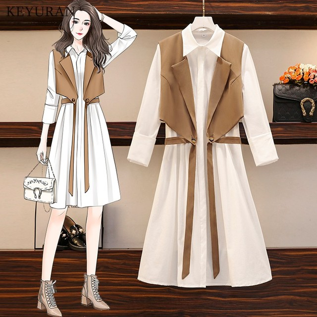 Long Shirt Two Piece Set  Turn Down Collar White Shirt Dress And Vest Tops 1