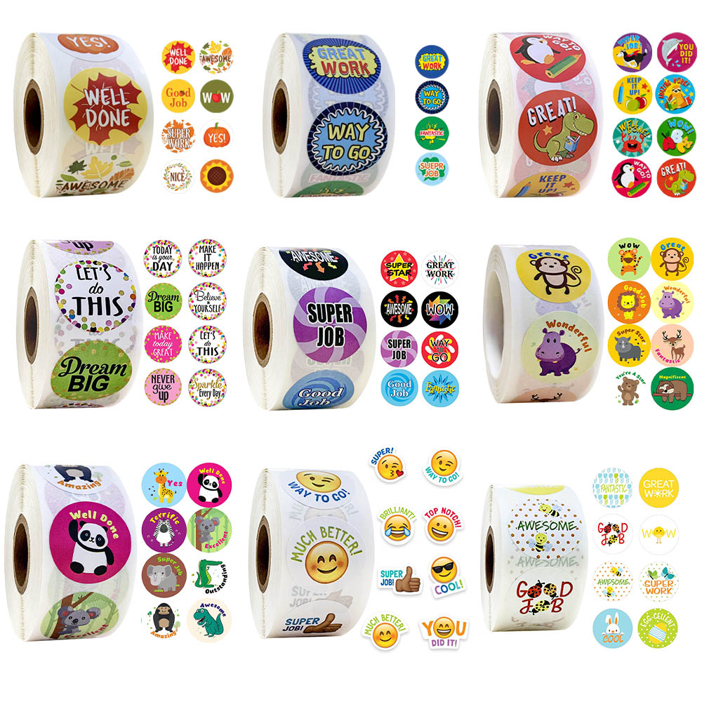 Round Cartoon Stickers 500 Pcs/roll Words Reward Sticker School Teacher Student Christmas Gift Scrapbooking Stationery Stickers