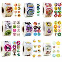 Round Cartoon Stickers 500 Pcs/roll Words Reward Sticker School Teacher Student Christmas Gift Scrapbooking Stationery Stickers
