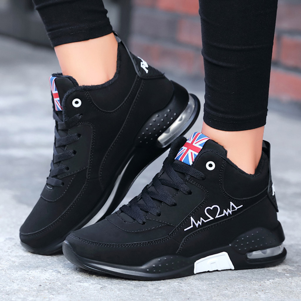 Women Shoes Lace-Up Casual Sneakers High-Top Zapatillas Mujer Student New Cotton 1031 title=