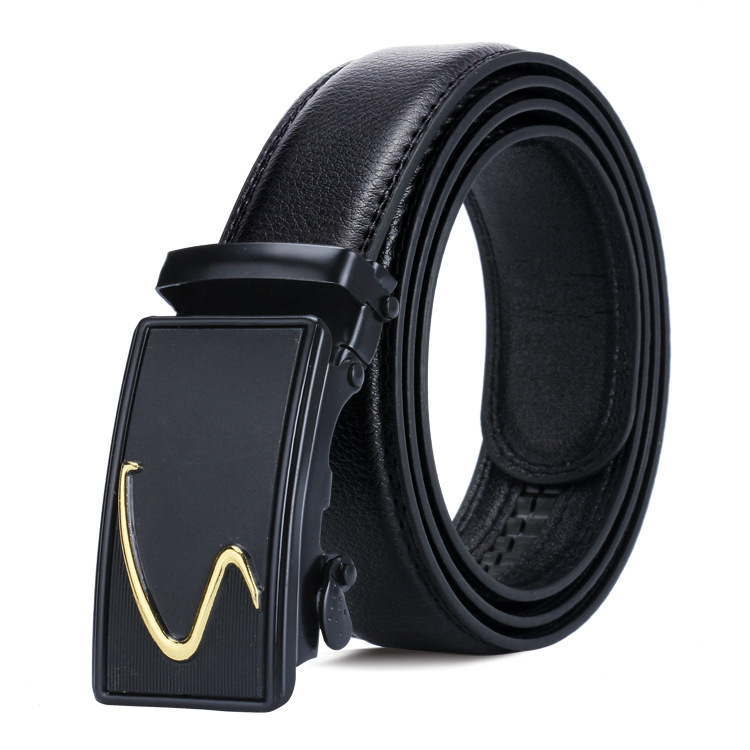 Men's Automatic Buckle Belt Young People Black Simple Buckle Highgrade Luxury Business Belt Ceinture Homme P53