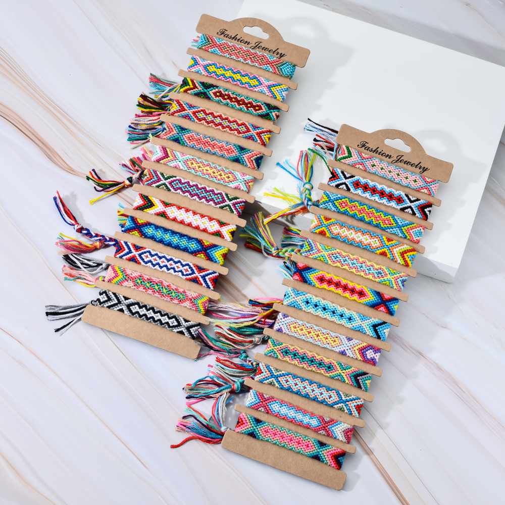 12pcs/lot Ethnic Colorful Braided Bracelets Bangles Handmade Adjustable Weave Rope Wide Chain Bracelet For Women Men Jewelry