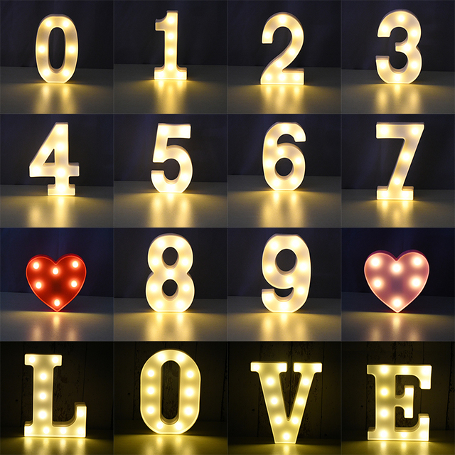 LED English Letter Night Light Alphabet Battery Marquee Sign Number Lamp Indoor Home Culb DIY Wedding Birthday Party Decoration 3