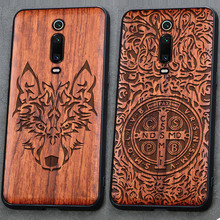 3D Carved Wood Cartoon Bear Case For Xiaomi Mi 9T Mi9T Pro Dragon Lion Wolf Tiger Tree wooden carve Cover For Redmi K20 Pro