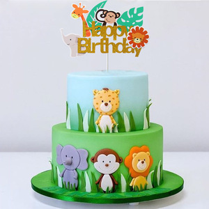 1pcs Jungle Animal Happy Birthday Cake Topper Safari Zoo Party 1st Birthday Cake Toppers Baby Shower Boy Jungle Party Supplies