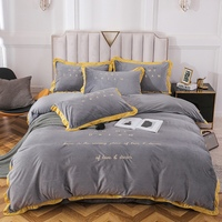 Simple Embroidery Velvet Bedding Sets Queen Size Duvet Cover Bed Sheet Pillowcase Grey Purple Green Red