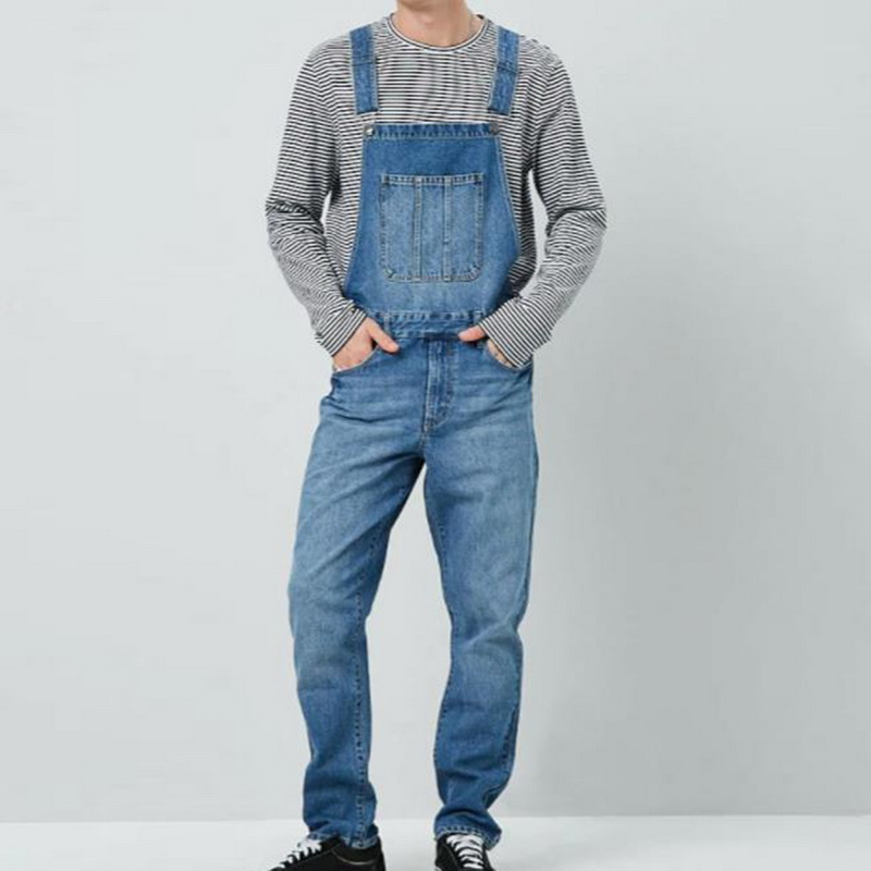 Puimentiua Fashion 2020 Men Denim Carpenter Overalls Casual Pants Loose Pants Bib Pants Men's Fashion Hip Hop Jumpsuit Bib Pants