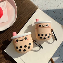 3d силиконовый чехол boba tea для appl airpods 3/2/1 bluetooth