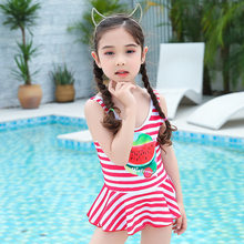 Navy Style Children Stripes Swimwear Cartoon Watermelon One-piece Girls Dress-Swimsuit Beach Seaside New Style GIRL'S(China)