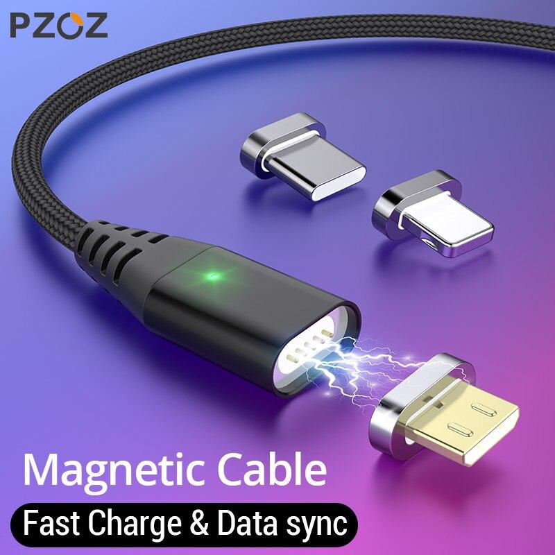 PZOZ Магнитный кабель Micro usb Тип C Быстрая Зарядка адаптер телефон Microusb Тип-C магнит Зарядное устройство usb c для iphone 11 pro X Max Xr samsung S10 S9 NOTE 10 9 8 xiaomi mi 9 8 6 A2 lite 6X redmi note 7 8 plus