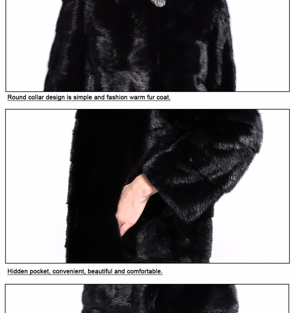 Real Fur Coat Mink Women Winter Natural Fur Mink Coats And Jackets Female Long Warm Vintage Women Clothes 2019 Plus Size 6XL 7XL 80