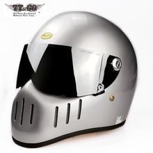 TT&CO Thompson Full Face Motorcycle Retro Helmets Vintage Fiberglass TTCO Japan Capacete Motocross  Casco Moto Cafe Racer