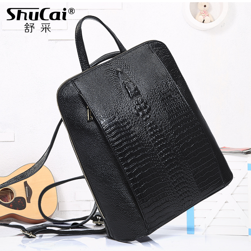 SHUCAI Luxury Genuine Leather Laptop Backpack Women 14 Inch College Bag School Girls Black Backpack Large Travel Backpack Purse