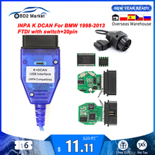 For BMW INPA K DCAN USB Interface With Switch K-line OBD OBD2 Diagnostic Cable INPA K+DCAN K line FTDI for BMW Auto Tool