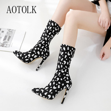 Women Ankle Boots Female High Heels Boots Shoes Brand Thin Heel Zip Spot Pointed Toe Casual Shoes Plus Size 2019 New Arrival DE недорого