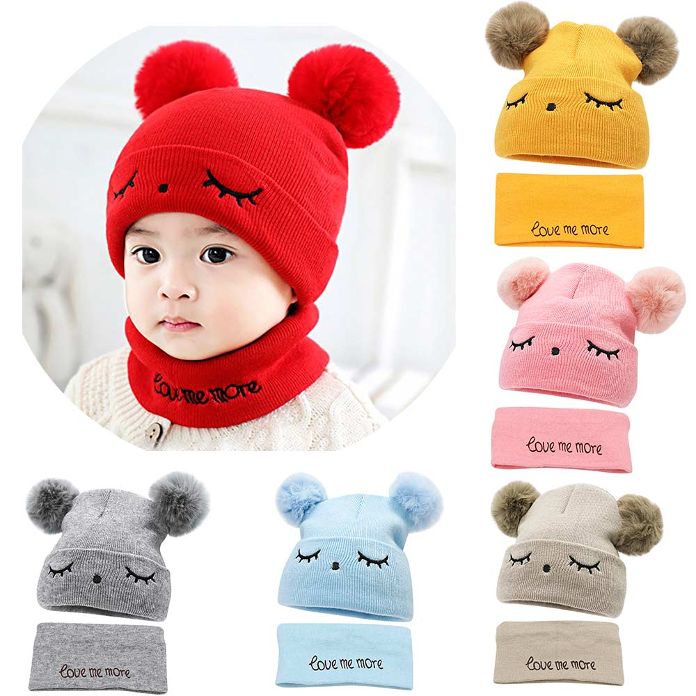 TYRY.HU  2Pcs Baby Winter Hats Scarf  Baby Beanies Cap Hat Male Knitted Plush Cap For Girls Boys Kids Winter Warm Hat Scarf Set