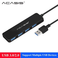 Acasis USB 3.0 허브 4 포트 외부 USB 분배기 2.0 마이크로 허브 USB 3,0 포트 iMac 액세서리 충전 USB 확장 #40