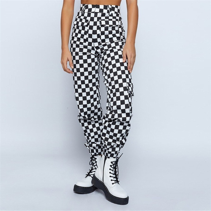 TAUPIN AM Plaid Zipper Checkered Trousers Women Autumn Casual Slim Pockets Loose Pants Black White Sexy Streetwear Womens Pants