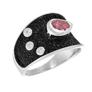 Кольцо из серебра с рубиновым корундом и фианитами и глиттером R00135