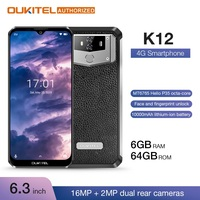 OUKITEL 10000mAh 5V/6A Quick Charge LTE Smartphone K12 6.3 FHD+ 19.5:5 Waterdrop Android 9.0 Octa Core Mobile Phone 6GB 64GB