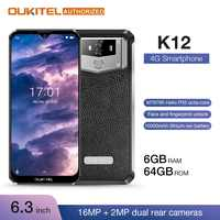 """OUKITEL 10000mAh 5 V/6A Charge rapide Smartphone K12 6.3 """"FHD + grand écran goutte d'eau Android 9.0 Octa Core téléphone portable 6GB 64GB"""