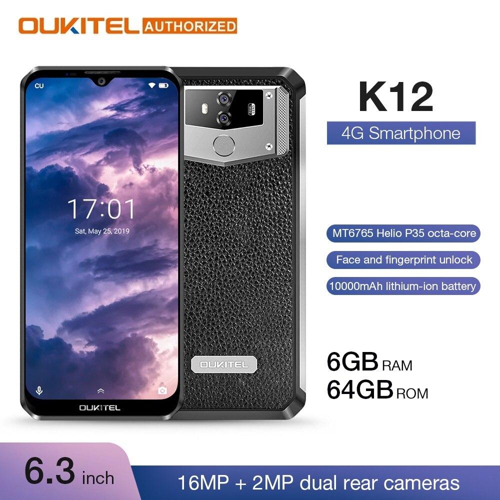 Oukitel 10000 mah 5 v/6a carga rápida smartphone k12 6.3