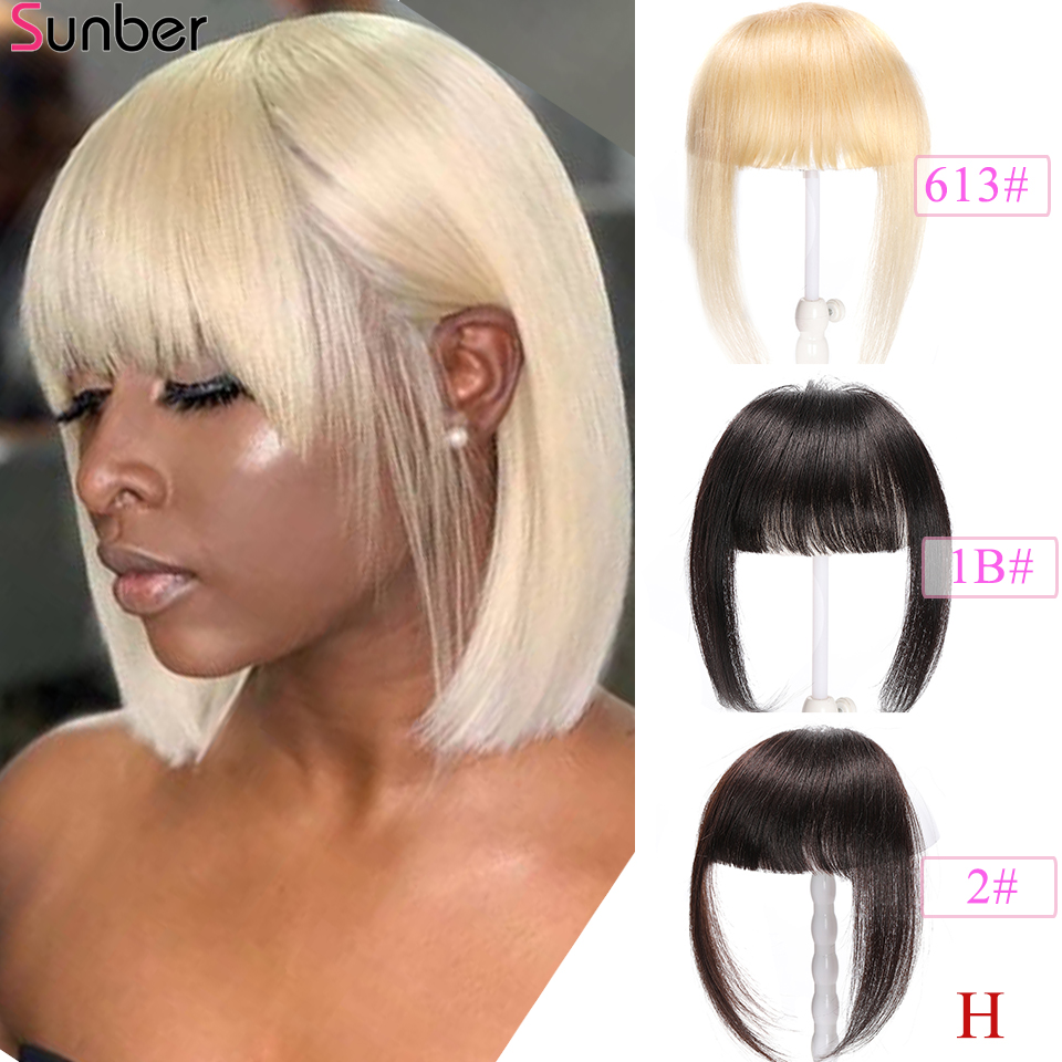Sunber Hair Peruvian Straight Blunt Bangs Clip In Human Hair Extension Remy Clip-In Fringe Hair Bangs 613 Neat Bang