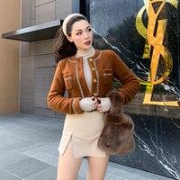 Le Palais Vintage 2019 Original Vintage Joker Camel Color Imitation Wool Soft Short Thick Fall Winter Coat Women Jacket
