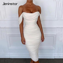 Jeninstar Off Shoulder Mesh Long Summer Dress Double Layer Strapless Sexy Bodycon Ladies Backless Women Party Night
