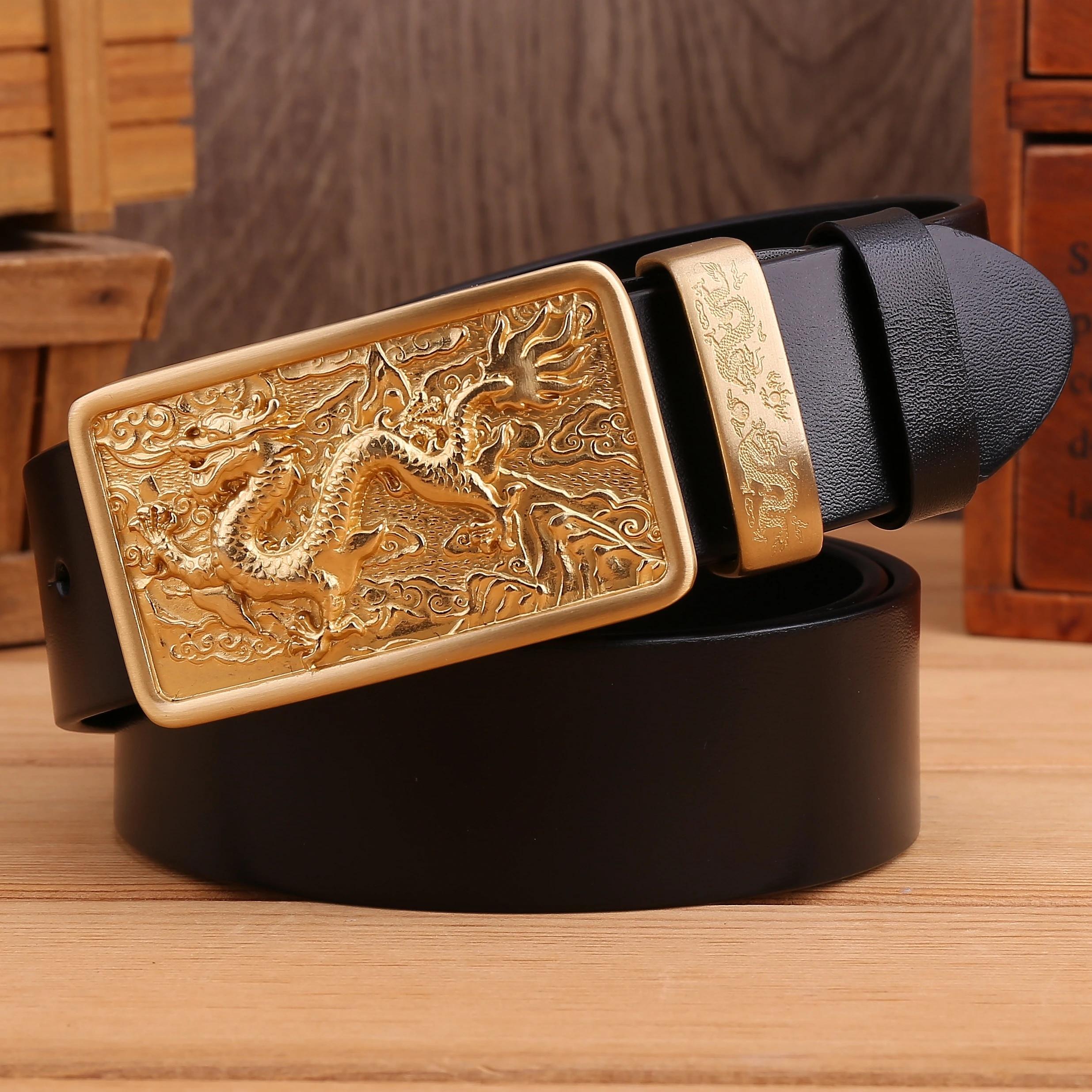 Pleine Fleur Design Dragon Automatique Boucle Homme Ceinture Cuir Véritable