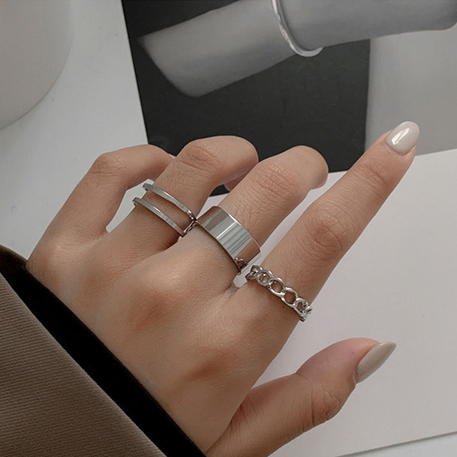 Hiphop/Rock Metal Geometry Circular Punk Rings Set Opening Index Finger Accessories Buckle Joint Tail Ring for Women Jewelry 1