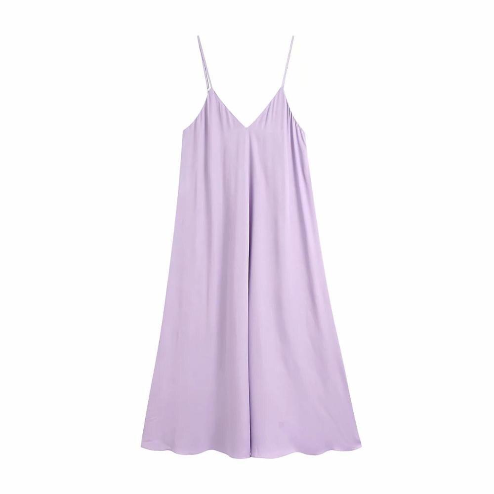US $20.20 20 neue Sommer Frauen Kleid Lila Satin Maxi Lange Kleid Dünnen  Trägern Falten Weibliche Elegante Fließende Kleider robe femme vestidos