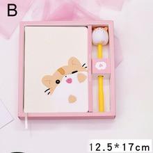 Cartoon Cute Notebook Cats Notepad Diary Book Set Imitation Leather Wireless Binding OUJ99