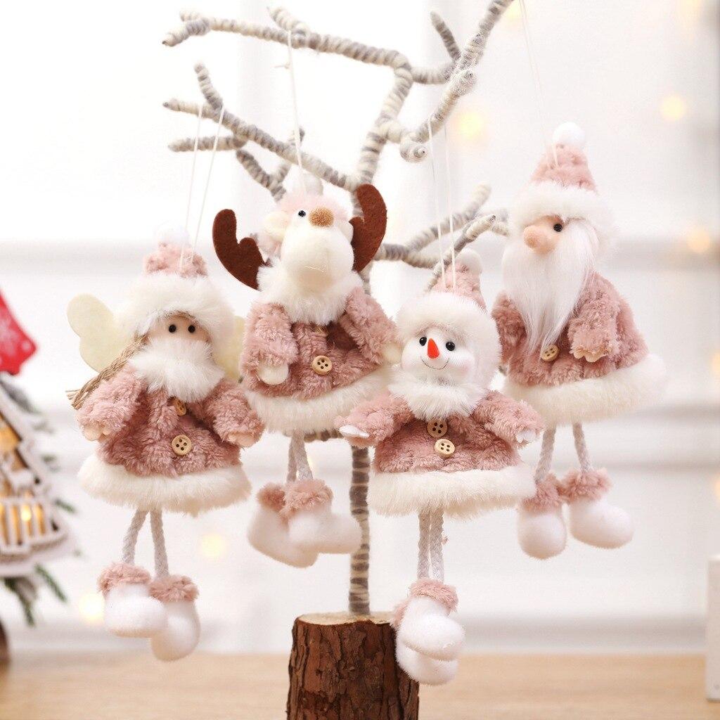 8 pièces décorations de noël créatif joyeux arbre de noël ornements en peluche père noël poupées décoration bonhomme de neige ornements artisanat