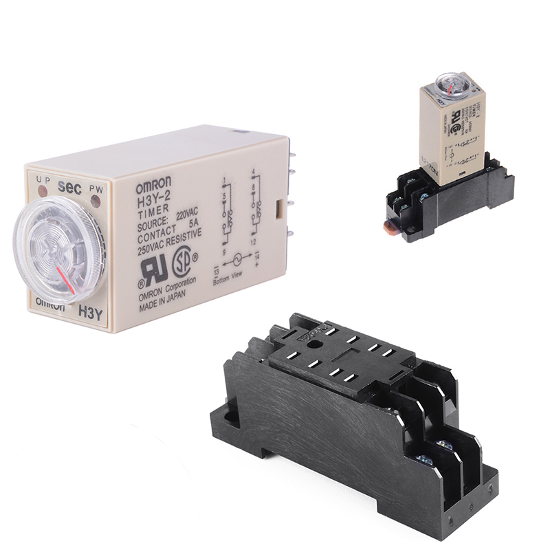 1pcs H3Y 2 AC 220V Delay Timer Time Relay 0   30 Minute//Seconds with Base