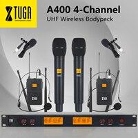 XTUGA A-400 металлический Материал 4-канальный UHF Беспроводной микрофон Системы с 2 поясной и 2 Handheldfor сценический церковный Семья Вечерние